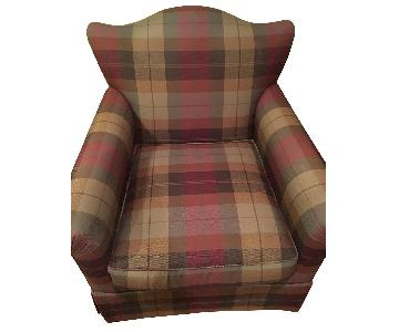 JM Paquet Custom Swivel Chair in Green & Burgundy Plaid