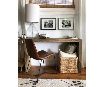 West Elm Brown Slope Leather Dining Chairs