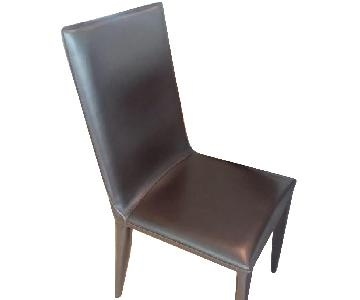 Raymour & Flanigan Brown Leather Dining Side Chairs