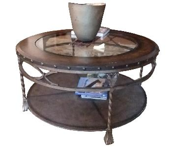 Raymour & Flanigan Tuscan 2-Tier Round Cocktail Table