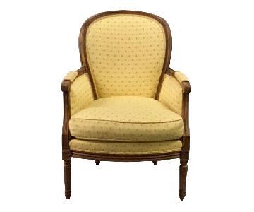 Drexel Beasley Armchair w/ Antiqued Wood Finish & Rosebuds
