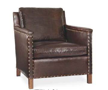 Lillian August Distressed Leather Chair w/ Nailheads