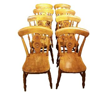 Vintage Signed 1850s English Bullseye Pine Dining Chairs