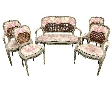 19th Century Louis XV Settee + 4 Matching Chairs