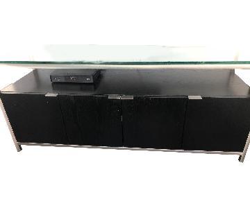 Crate & Barrel Wood & Glass Media Console