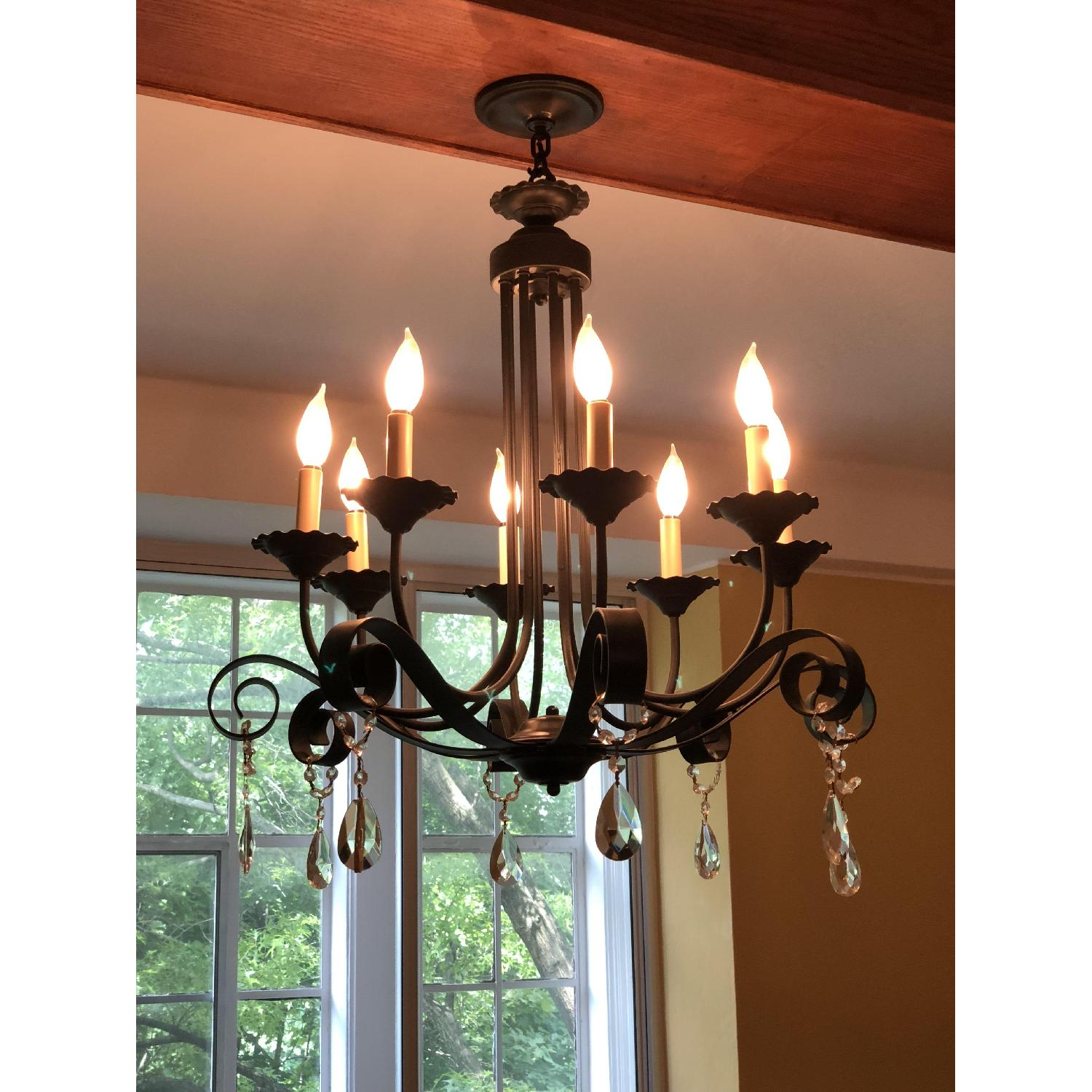 8-Candle Wrought-Iron Crystal-Accented Black Chandelier
