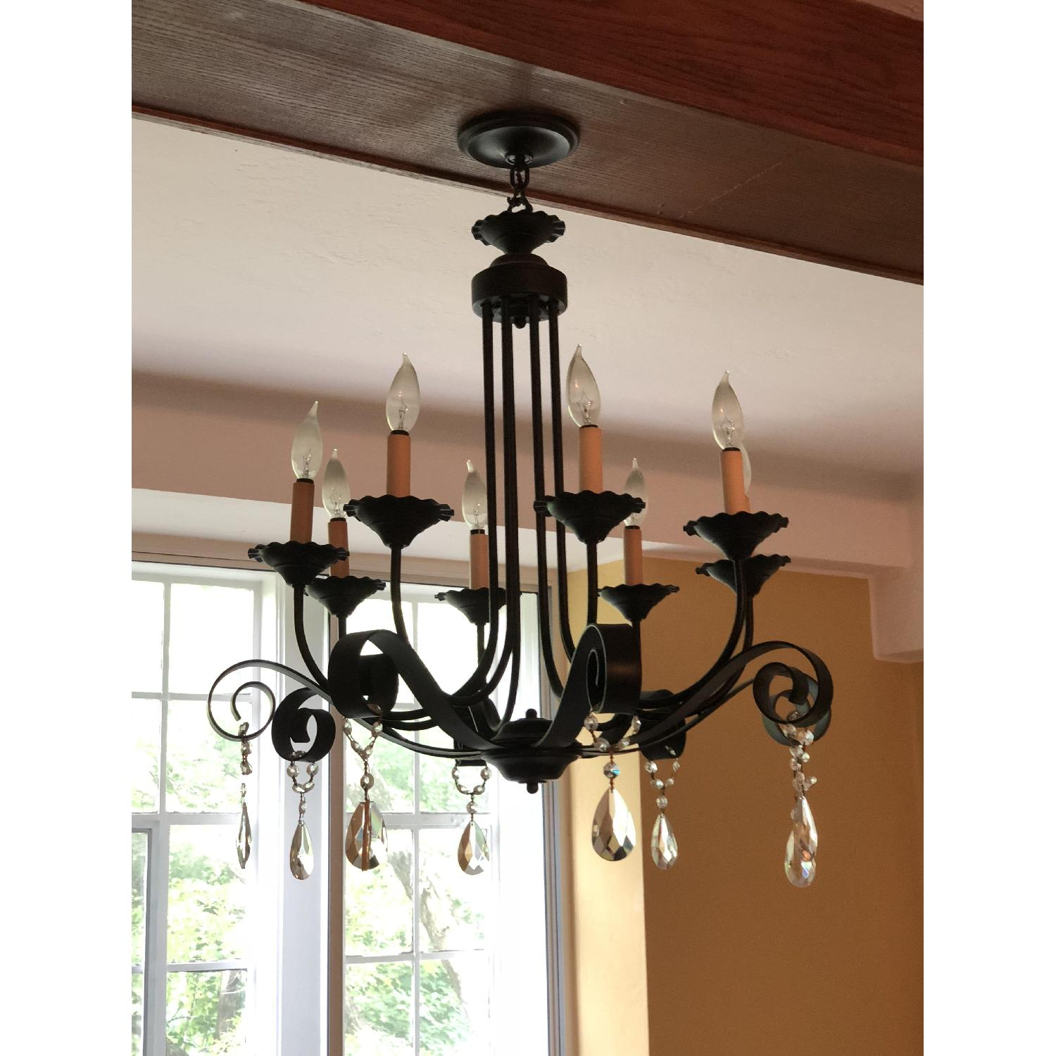 8-Candle Wrought-Iron Crystal-Accented Black Chandelier-0