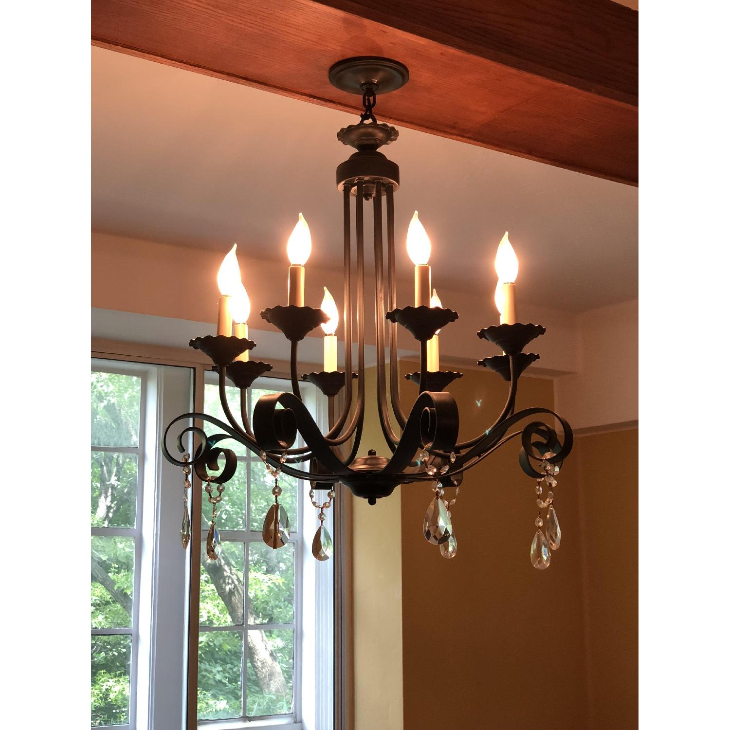 8-Candle Wrought-Iron Crystal-Accented Black Chandelier-1