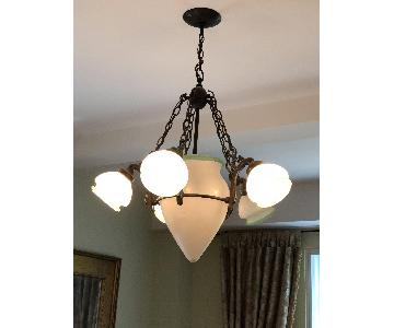 6-Light Frosted Glass Wrought Iron Chandelier