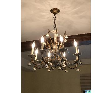 8- Light White Porcelain Rose Candle-Style Chandelier