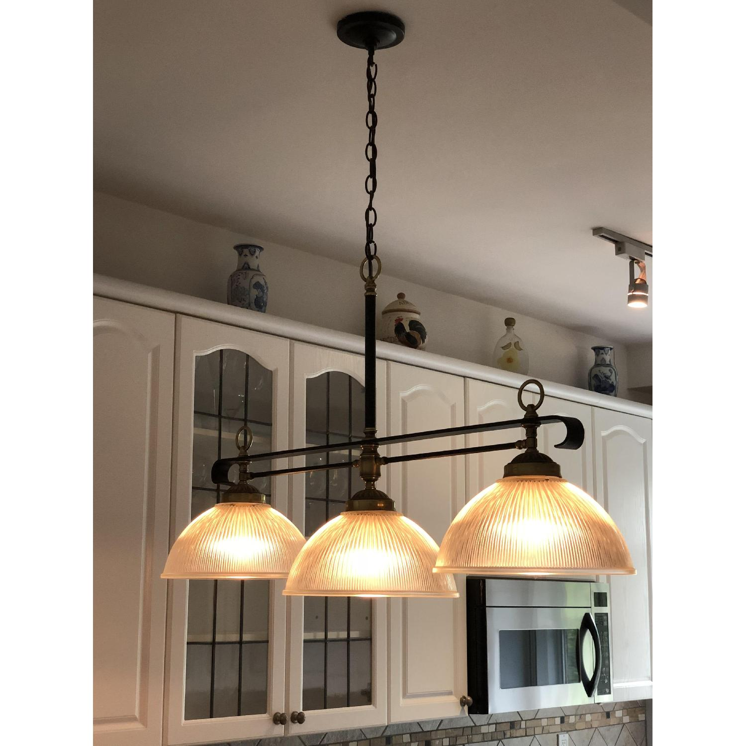 3-Light Ribbed Glass Dome Pendant Hanging Light Fixture