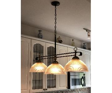 3-Light Ribbed Glass Dome Pendant Hanging Light Fixture