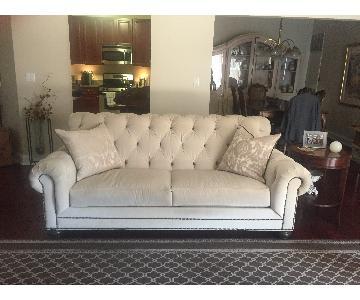 Ethan Allen Chadwick Beige Tufted Velvet Sofa