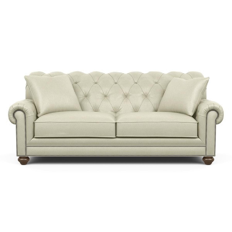 Ethan Allen Chadwick Beige Tufted Velvet Sofa ...