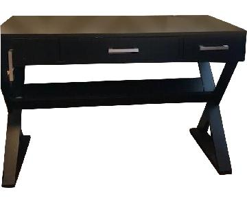 Black Contemporary Desk w/ Book Storage