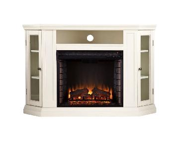 Southern Enterprises Ivory TV Stand w/ Electric Fireplace
