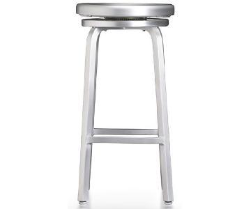 Crate & Barrel Spin Swivel Backless Aluminum Bar Stool