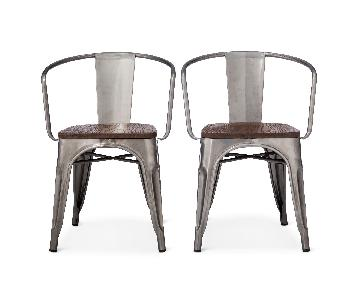 Target Carlisle High Back Metal Dining Chairs w/ Wood Seat