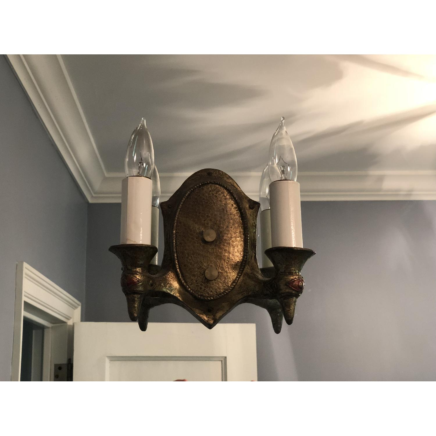 2-Light Candle Style Brass Wall Sconce-0
