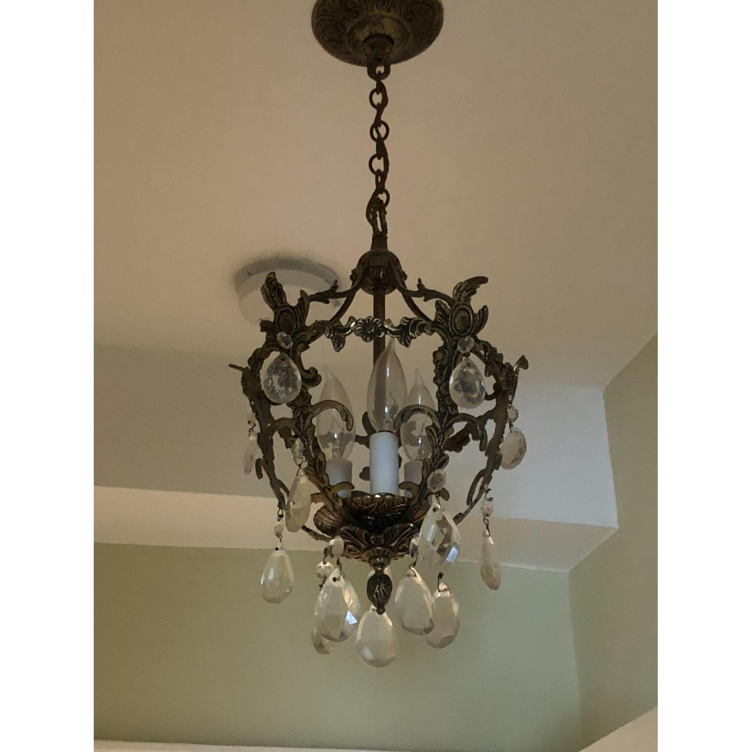 3-Light Candle Style Brass Light Fixture w/ Crystal Accents-0