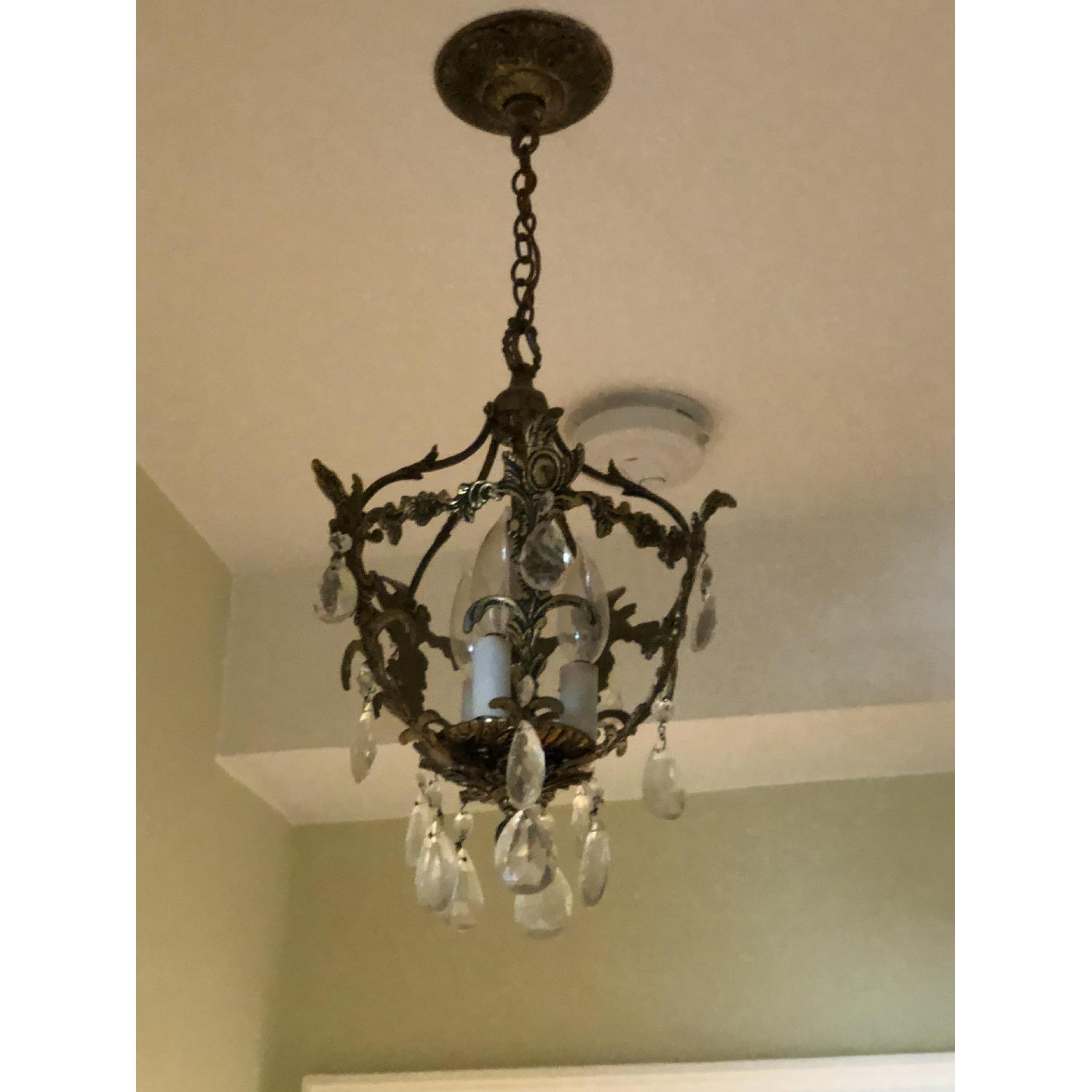 3-Light Candle Style Brass Light Fixture w/ Crystal Accents