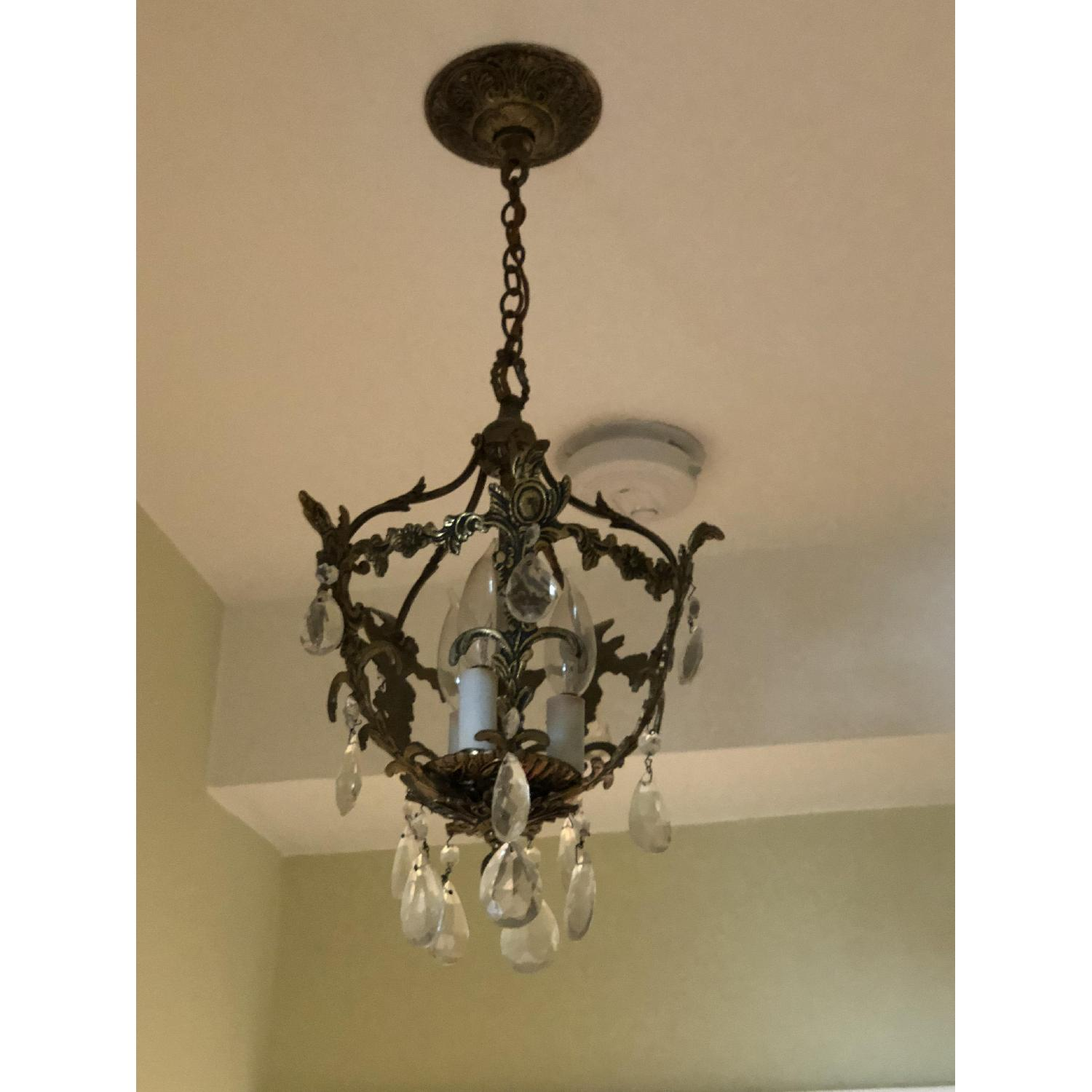 3-Light Candle Style Brass Light Fixture w/ Crystal Accents-1