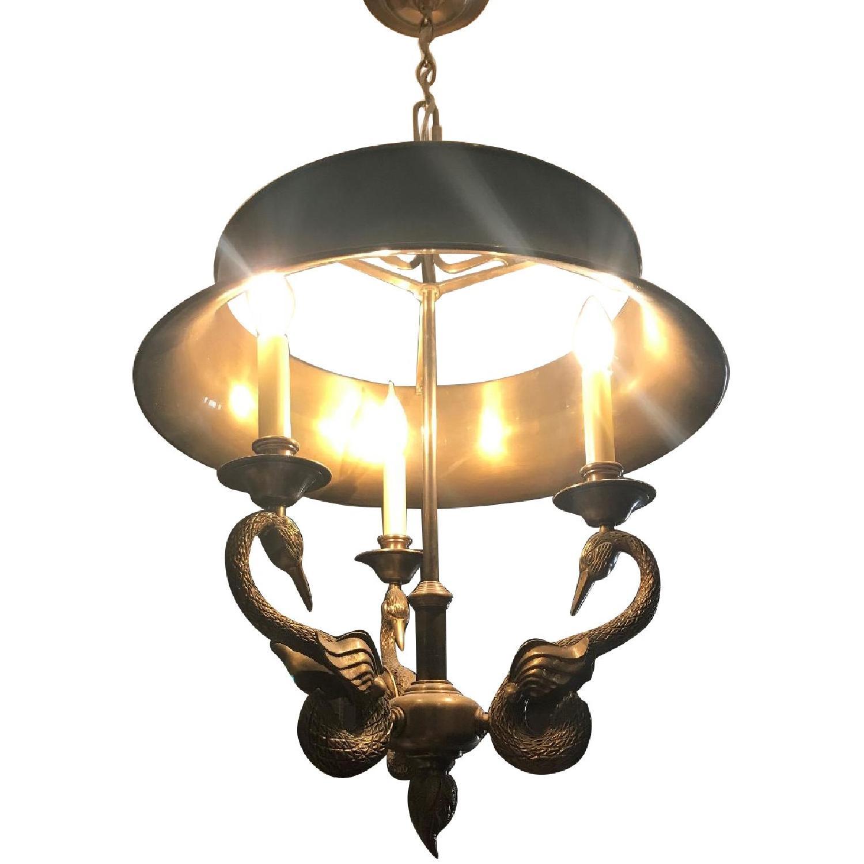 Brass Art Deco Chandelier w/ Swan Accents