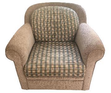 Custom Beige Swivel Chair w/ Plaid Removable Cushions
