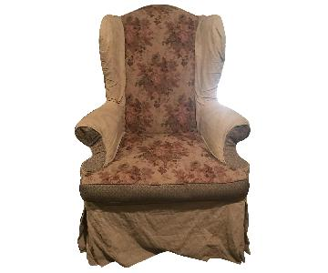 Vintage Fabric Wingback Armchair