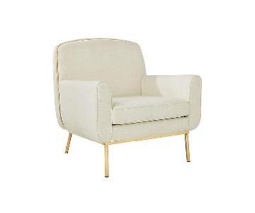 CB2 Halo White & Brass Armchair
