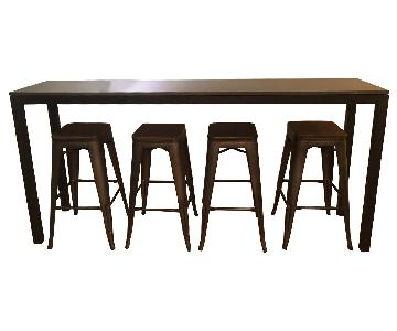 Room & Board Quartz Composite Steel Table w/ 4 Stools
