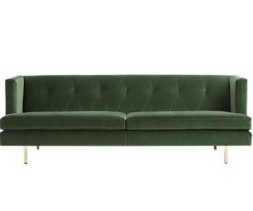 CB2 Avec Emerald Green Suede Sofa
