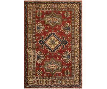 Arshs Fine Rugs Kazak Garish Pablo Red/Ivory Wool Rug
