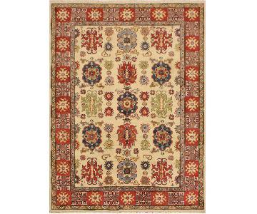 Arshs Fine Rugs Kazak Garish Emery Ivory/Red Wool Rug