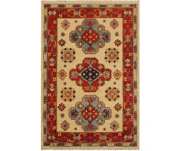 Arshs Fine Rugs Kazak Garish Adela Ivory/Red Wool Rug