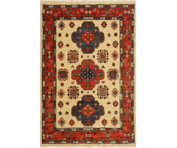 Arshs Fine Rugs Kazak Garish Jose Ivory/Red Wool Rug