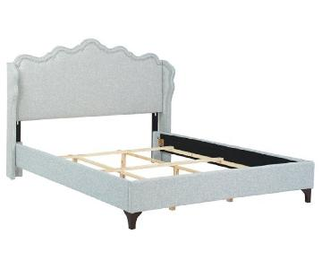 One Kings Lane Ela Wing King Bed in Heather Gray