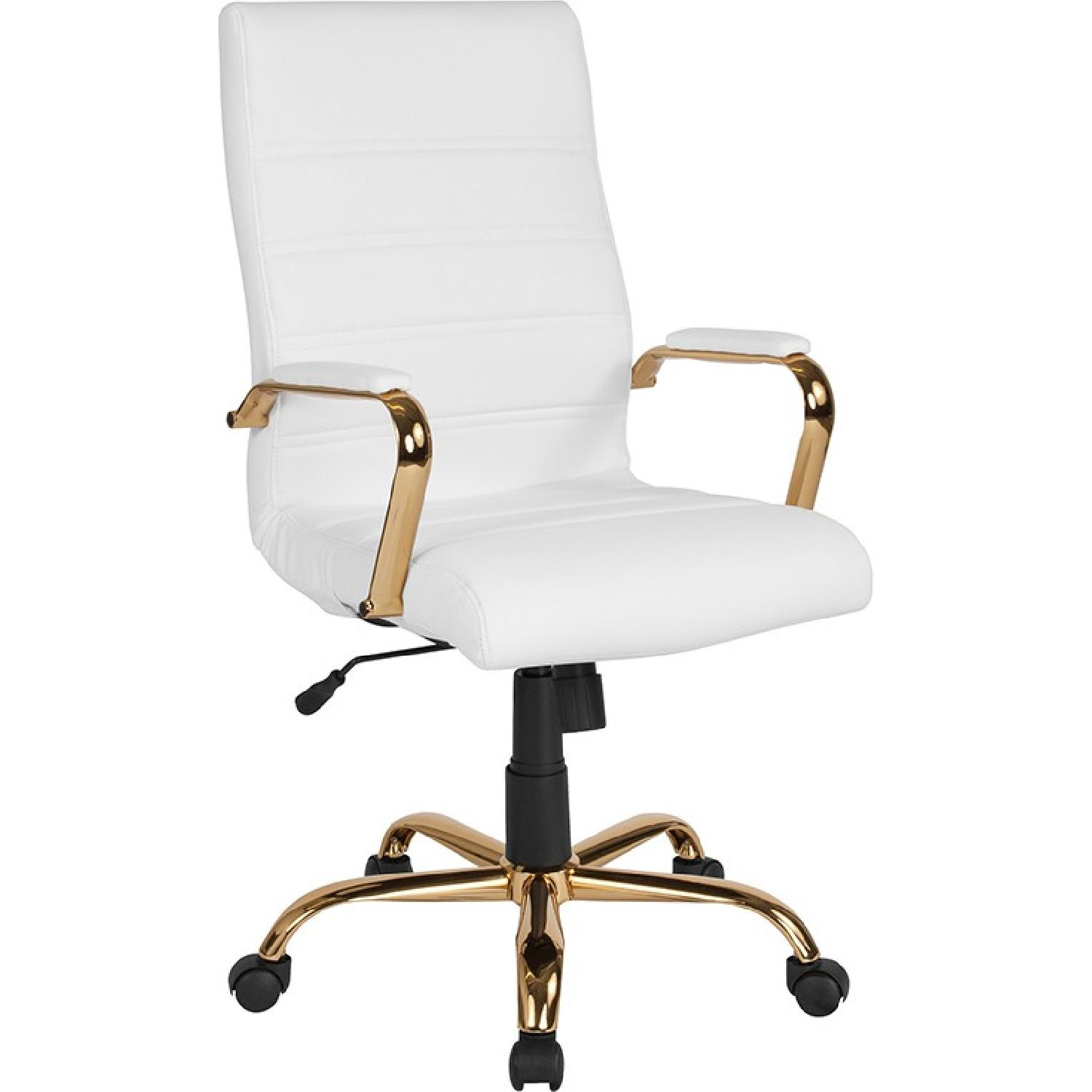 High Back White Leather Office Chair w/ Gold Frame