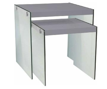 Glossy Gray & Tempered Glass Nesting Tables