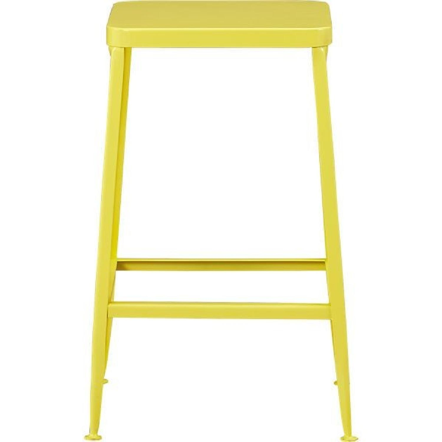 CB2 Flint Bar Stool in Yellow - AptDeco