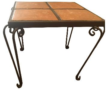 Metal & Ceramic Tiles Side Table