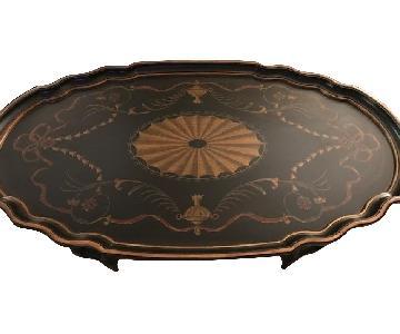 Lexington Black Round Tray Top Coffee Table