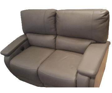 Gray Leather Electric Reclining Loveseat
