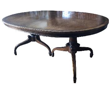 Classic 1940's Oval Double Pedestal Expandable Dining Table