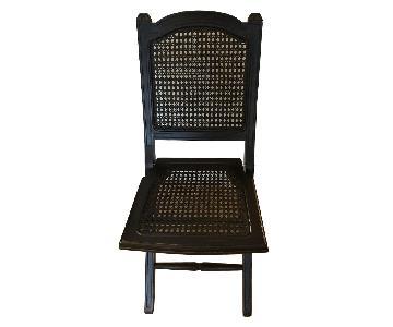 Ballard Designs Folding Wood/Wicker Black Dining Chairs