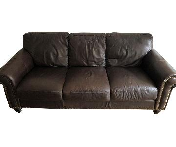 Stuffed Brown Leather 3-Seater Sofa w/ Brass Nail Studs