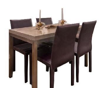 Crate & Barrel Parsons Concrete Top Dining Table w/ 4 Chairs