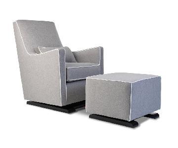 Monte Design Luca Glider & Ottoman in Grey w/ White Piping