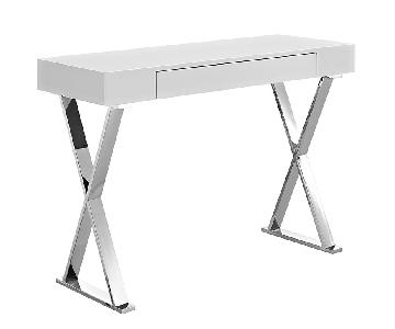 Modern Console Table in White & Polished Steel