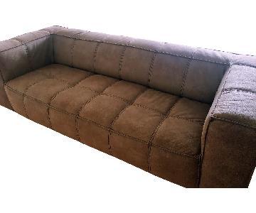 Custom Brown Suede Sofa